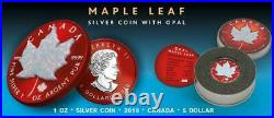 Canada 2019 $5 Maple Leaf Space RED 1 Oz 999 Silver Coin With Real OPAL Stone