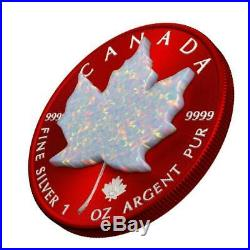 Canada 2019 $5 Maple Leaf Space RED 1 Oz Silver Coin with Real OPAL Stone