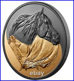 Canada 2020 $20 Black and Gold The Canadian Horse Rhodium Plated Silver Coin