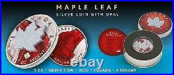 Canada 2020 5$ Maple Leaf Space RED 1 Oz Silver Coin w. White Opal Stone