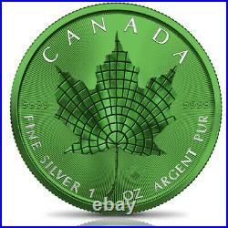 Canada 2021 $5 Maple Leaf MOSAIC SPACE GREEN EDITION 1 oz