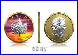 Canada 2021 Maple Leaf Silver. 9999 1oz Bullion Coin Sunset