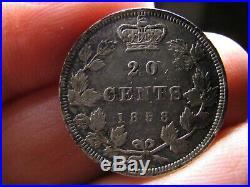 Canada 20 cents 1858 Victoria silver coin VF