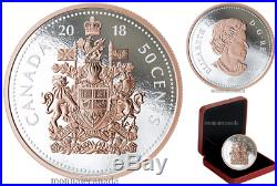 Canada 50c 5 oz. Silver Rose Gold Plating Big Coin Series Coat of Arms 2018