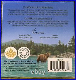 Canada Face Value Series 2014 $100 for $100 Fine Silver Coin Grizzly Bear, UNC