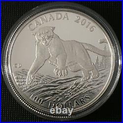 Canada Face Value Series 2016 $100 for $100 Fine Silver Coin Cougar, UNC