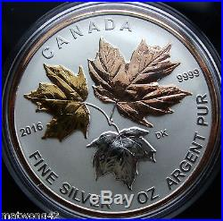 Canada Fine Silver 5 Coin Fractional Set A Historic Reign 2016 Pink GOLD Plating