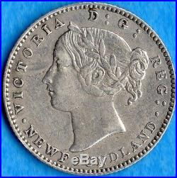 Canada Newfoundland 1865 10 Cents Ten Cent Silver Coin VF+ (cleaned, scrape)