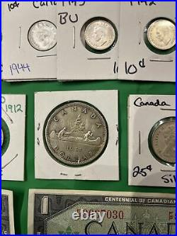 Canada Old Silver MASSIVE lot Of Coins/notes SUPER FINE LOT