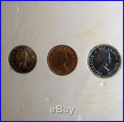 Canada Proof Like Set 1953 6 Coins Original White Cardboard Holder Silver Unc