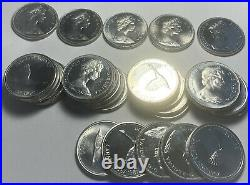 Canadian 1867-1967 Silver Canada Flying Goose Dollar Lot Of 5 Circulated Coins