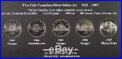 Canadian Silver Dollar 5 Coin Set, BU In Beautiful Wood Display Frame