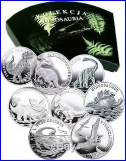 Dinosaur Series 8 x Silver coin SET Tyrannosaurus rex Triceratops Parasauroloph