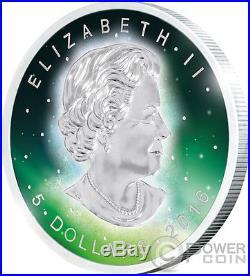 FROZEN MAPLE LEAF Aurora Rhodium 1 Oz Silver Coin 5$ Canada 2016