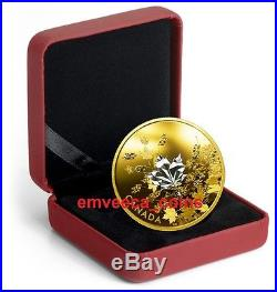 IN STOCK CANADA 2017 Whispering Maple Leaves 3oz Gold Plated Pure Silver Coin