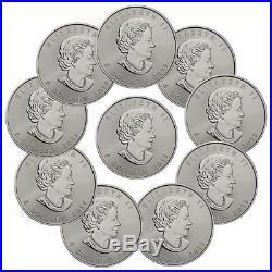 Lot of 10 2019 Canada 1 oz. Silver Maple Leaf $5 Coins GEM BU PRESALE SKU55537