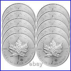 Lot of 10 2020 $5 Silver Canadian Maple Leaf 1 oz Brilliant Uncirculated