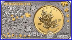 MAPLE LEAF 40th Anniversary 1 Oz Silver 1/4 Oz Gold Coin Set Canada 2019