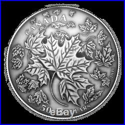 MAPLE LEAVES IN MOTION 2018 $50 5 oz Fine Silver Antiqued Coin RCM CANADA