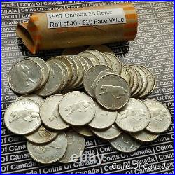 One Roll Of Circulated 1967 Canada Silver Quarters $10 Face Value #coinsofcanada