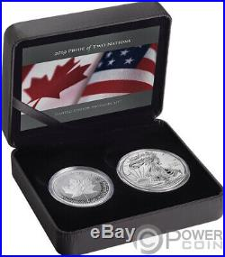 PRIDE OF TWO NATIONS Set 2x1 Ox Silver Coins 5$ 1$ Canada USA 2019