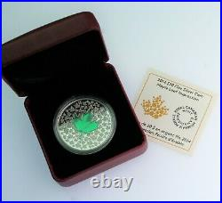 RARE 2014 1 oz. 999 silver Leaf Impressions GREEN Maple Canadian coin COA & OGP