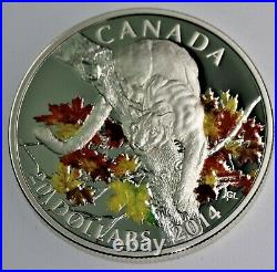 RARE 2014 Canadian 1 oz. 9999 silver Proof COUGAR IN MAPLES with COA & OGP
