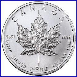 Roll of 25 2011 Canada 1 Troy Oz. 9999 Silver Maple Leaf $5 Coin SKU34055