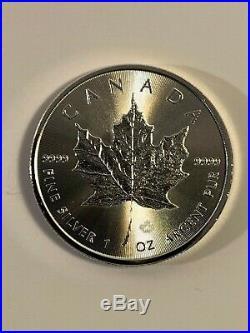 Roll of 25 Silver 2015 Canadian 1 oz Maple Leaf Bullion. 9999 BU Leafs Coins