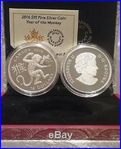 Year of the Monkey $15 2016 1OZ Pure Silver Proof Coin Canada